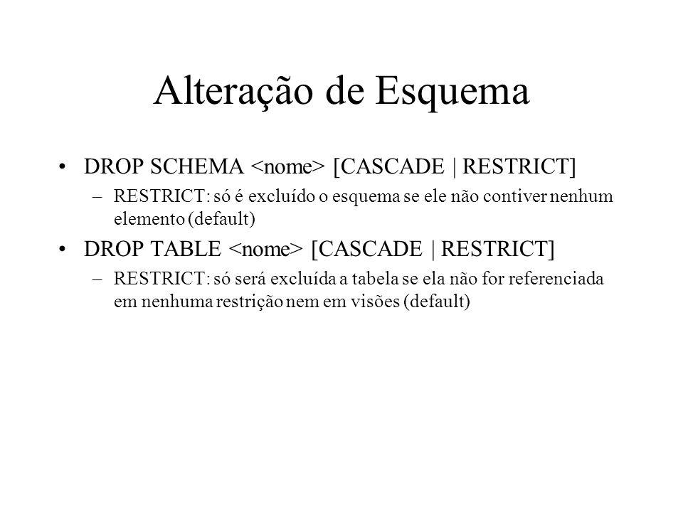 Alteração de Esquema DROP SCHEMA <nome> [CASCADE | RESTRICT]